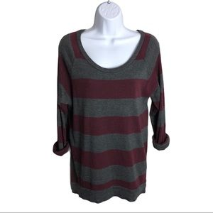 Aritzia TNA Del Mar Striped Gray & Purple Shirt M